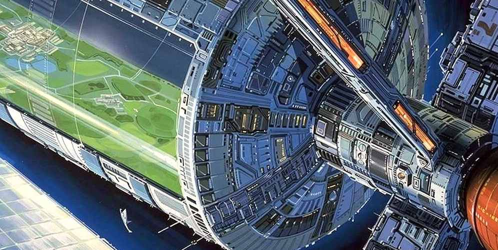 Artist's conception of an O'Neill Cylinder space habitat.